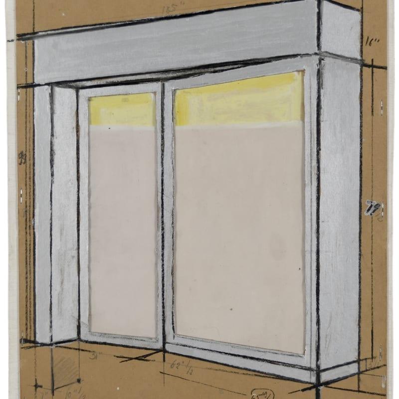 """Christo Store Front (Project) 105"""" x 99"""" x 18"""" IN Collage et dessin rehaussé : Acrylique, graphite, vernis, pastel, métal, plastique et tissu sur carton agrafé sur masonite 45,8 x 39,8 x 5,1 cm (archives) 45,8 x 39,8 x 5,1 cm (archives)"""