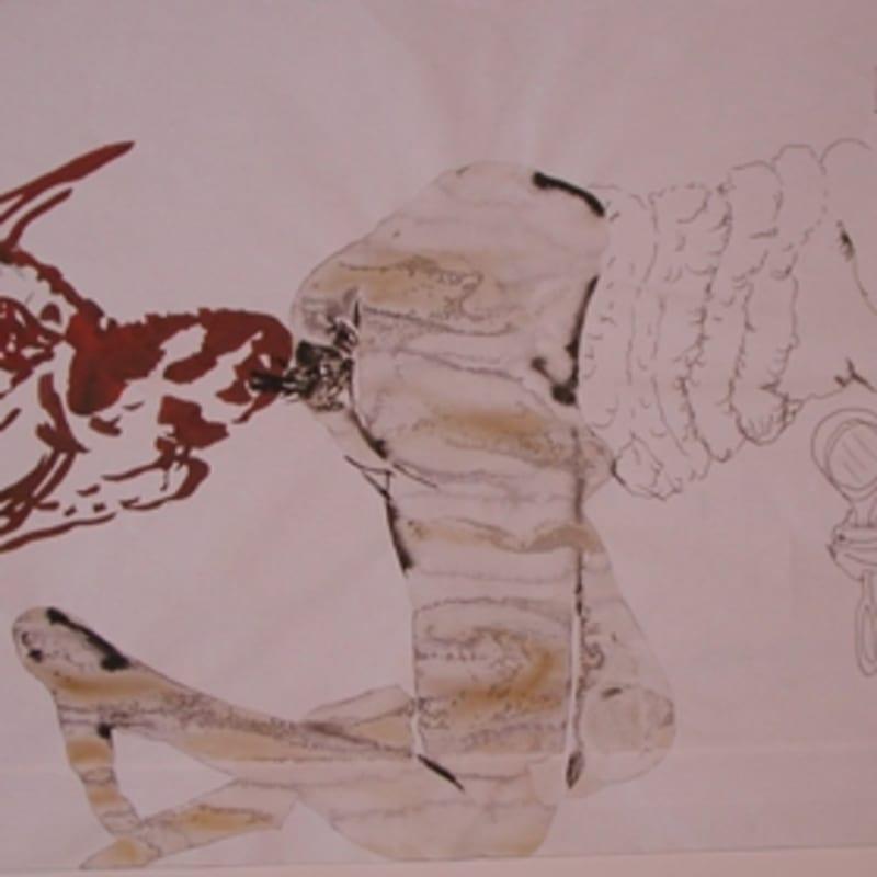 Sébastien Pignon Série des dessins enveloppes crayon, feutre, aquarelle et encre 23 x 36,5 cm 7 1/4 by 5 7/8 in.