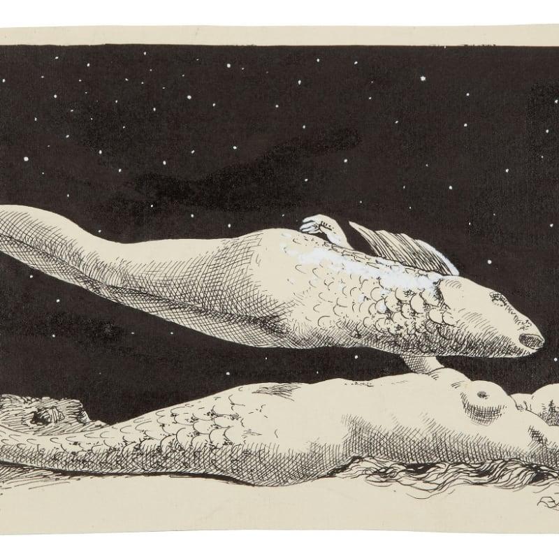 René Magritte Le rêve de l'androgyne encre et gouache blanche 15,5 x 27 cm 36 1/4 by 28 3/4 in.