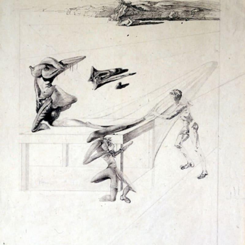 Salvador Dalí L'Enfant sauterelle Dessin à l'encre sur papier et crayon noir 37,5 x 34 cm 15 x 13 in.