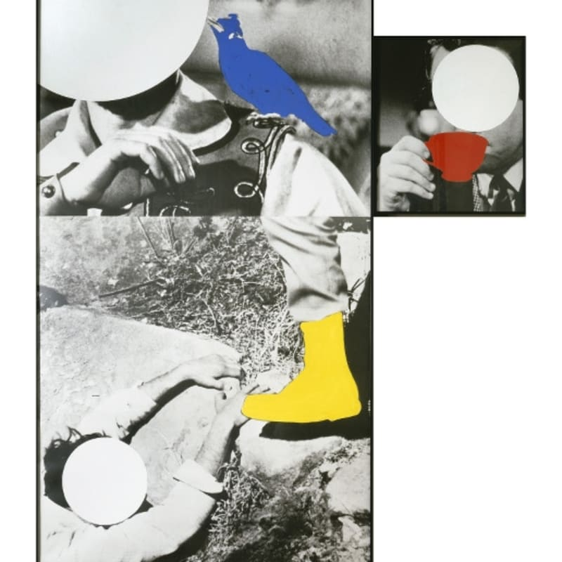 John Baldessari Person with bird on shoulder/person and boot (Person with cup observing) photographies en noir et blanc, huile et vinyle 190 x 135 cm