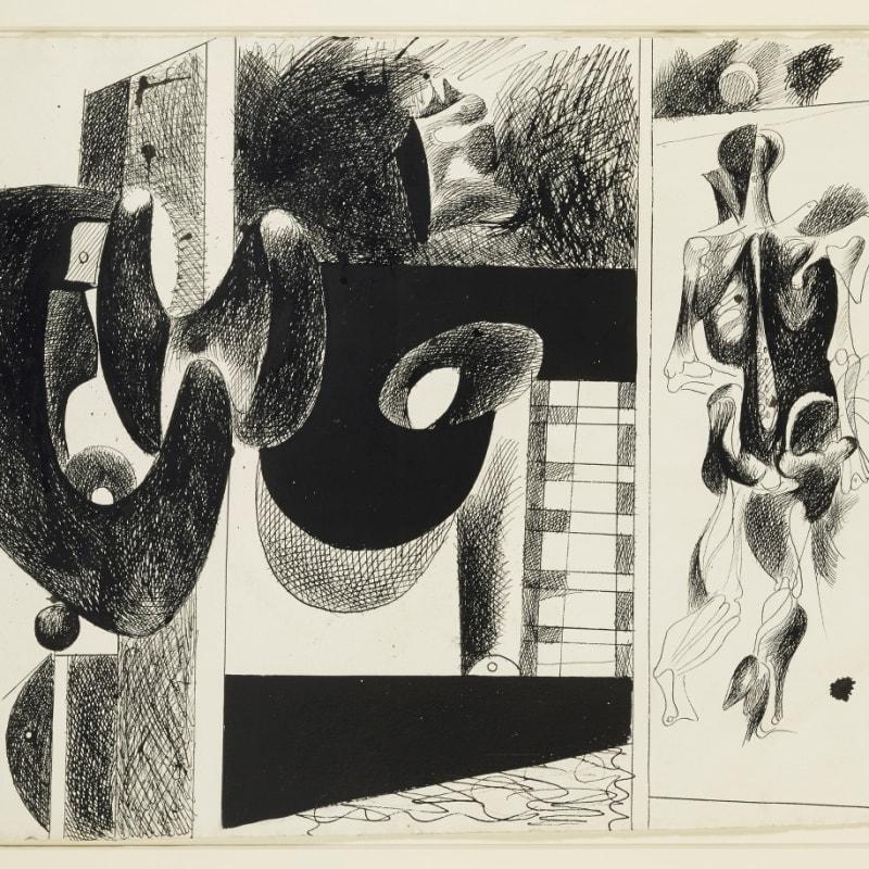 Arshile Gorky Sans titre. Etude pour 'Nighttime, Enigma and Nostalgia' dessin à la plume et encre de Chine sur papier 55,4 x 76,5 cm (archives) 22 x 30 in. (archives)
