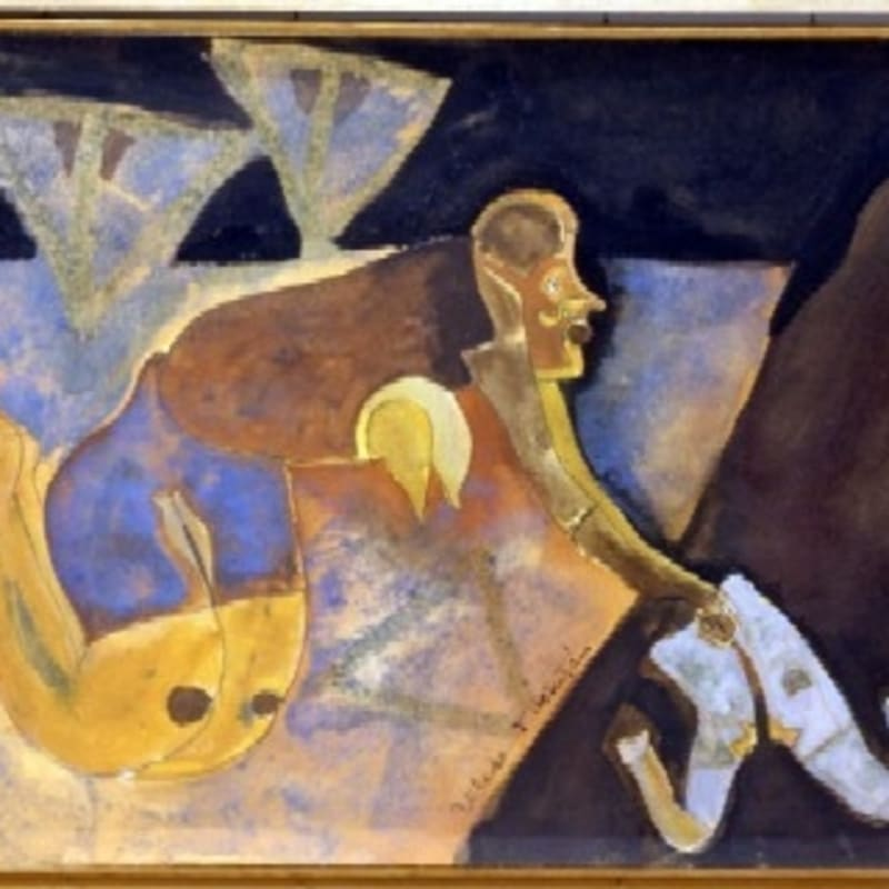 Francis Toledo Figure gouache et sable sur papier marouflé sur carton 23,5 x 32,9 cm (disponible) 9 1/4 x 13 in. (available)