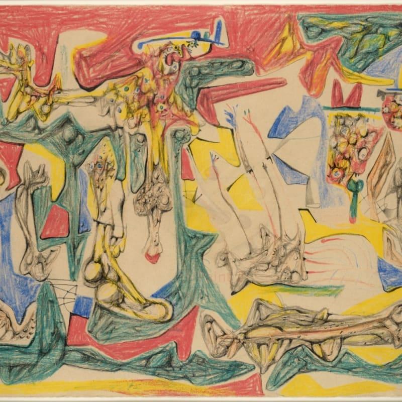 Roberto Matta Nuit frontière crayons de couleur et pastel sur papier 34 x 50,3 cm (archives) 13 3/8 x 19 3/4 in