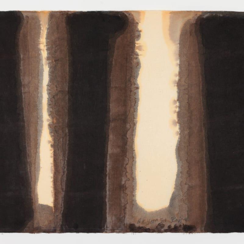 Hyong-Keun Yun Burnt Umber & Ultramarine huile sur papier Hanji 64 x 94,5 cm 25 1/4 x 37 1/4 in.