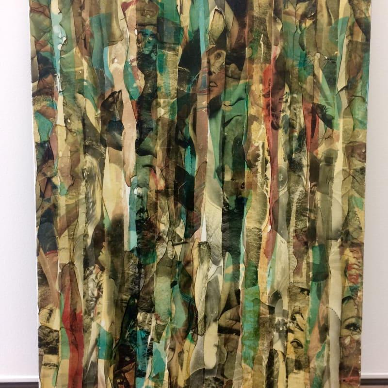 Gil Joseph Wolman Sans titre (visages) art scotch sur toile 81 x 54 cm