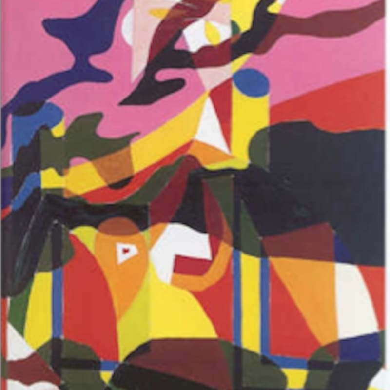 Alain Jacquet Camouflage Lichtenstein / Picasso, Femme dans un fauteuil Huile sur toile 130 x 97 cm