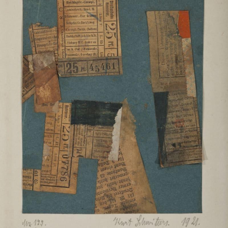 Kurt Schwitters Mz 177. auf blau. gouache et collage de papier sur papier 15 x 12,2 cm - 32,2 x 23,3 cm avec le passe-partout (archives) 16 1/2 by 13 3/8 by 3 7/8 in. (archives)