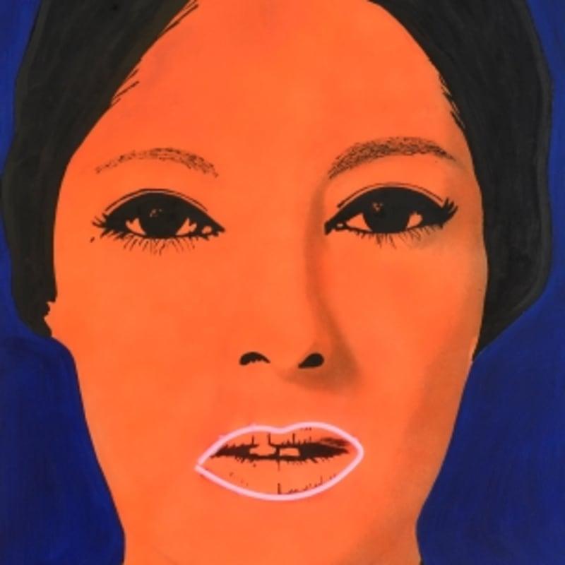 Elaine Sturtevant Raysse, peinture à haute tension peinture à l'aérographe sur toile, flocage, néon, chassis en bois 161,5 x 96,5 cm