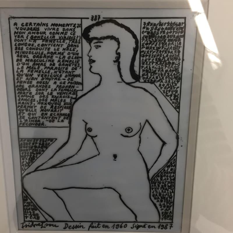 Isidore Isou Initiation à la haute volupté 387 encre de chine sur papier calque 13,4 x 17,1 cm