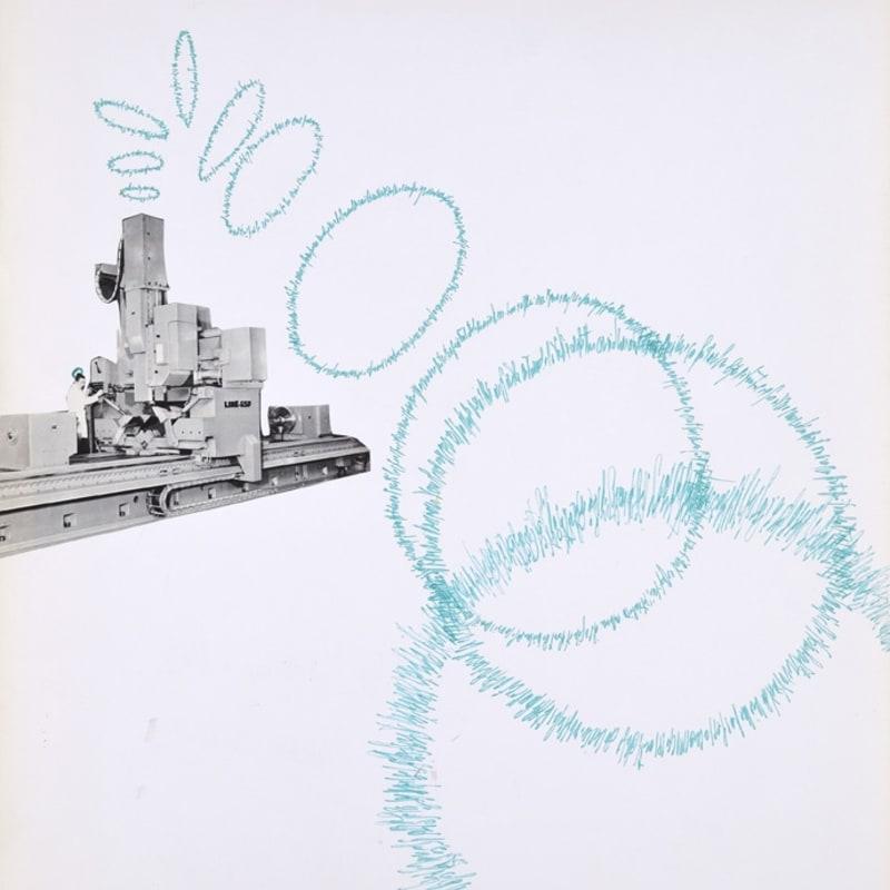 Bernard Heidsieck Machine à mots n°23 écritures et collage d'une photo de machine-outil sur papier 64 x 50 cm (disponible) 64 x 50 cm (available)