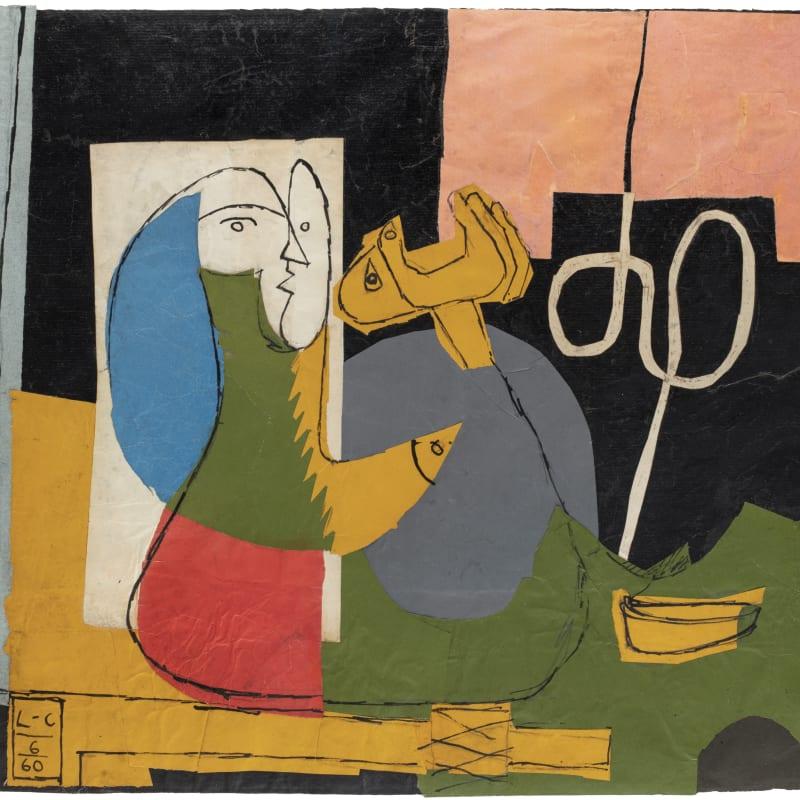 Charles-Edouard Le Corbusier L'enfant est là collage 43 x 60 cm