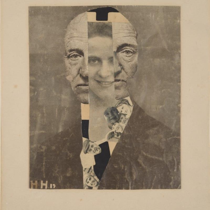Hannah Hoch Portrait de Gerhard Hauptmann photo collage 18,5 x 15 cm 7 1/4 by 5 7/8 in.