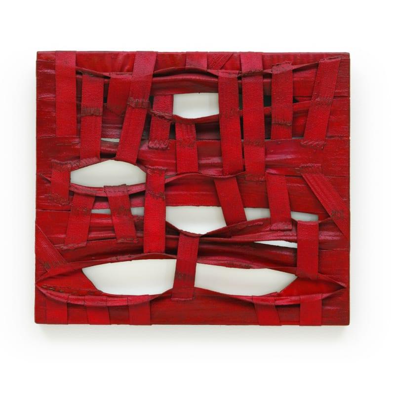 Salvatore Scarpitta Double Halter bandes peintes et agrafes sur châssis 49,5 x 57,2 cm