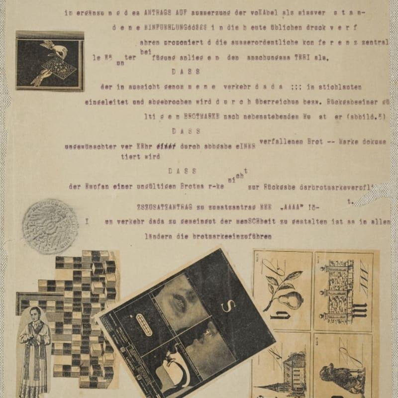 Max Ernst Typoskript-Manifest / FaTaGaGa collage, papier imprimé, frottage, tapuscrit et encre sur papier 28 x 22,5 cm (archives)