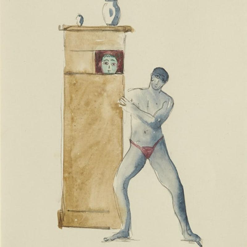 Francis Picabia Homme à l'armoire aquarelle et crayon sur papier 23 x 18 cm (archives) 3 1/2 by 14 1/8 in. (archives)