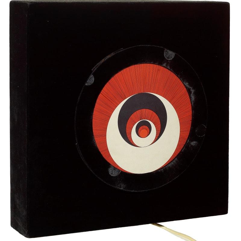 Marcel Duchamp Rotorelief 6 disques en carton et un tourne disques - Un des disques est monogrammé au crayon no 50/150 sur une plaque de cuivre - au dos du tourne disques editeur Arturo Schwartz tourne-disques: 38 x 38 x 9 cm 6 1/2 by 10 in.