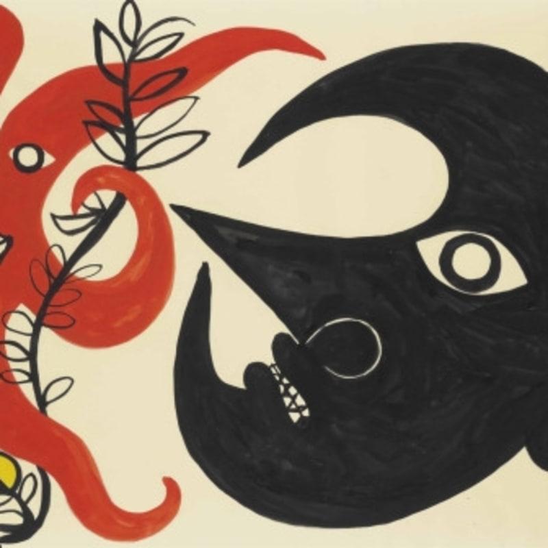 Alexander Calder Curly Star and Moon gouache et encre sur papier 74.5 x 109.5 cm 29 3/8 x 43 1/8 in