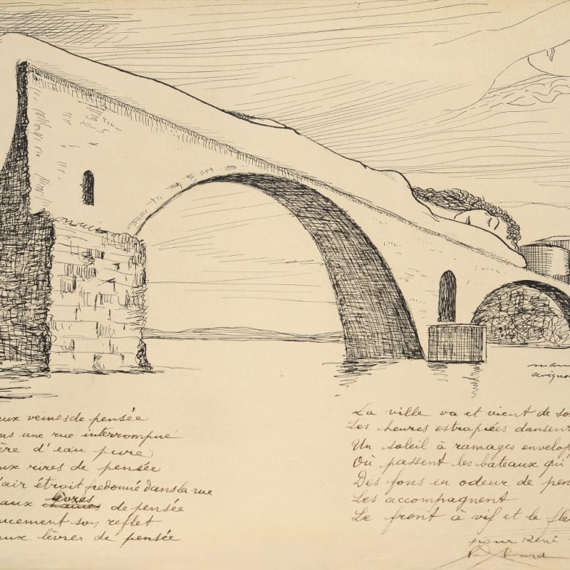 Man Ray Le Pont brisé (Pont d'Avignon) encre de chine 28 x 38,5 cm (archives) 11 x 15 1/8 in. (archives)