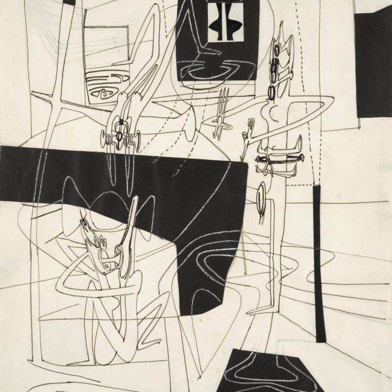 Roberto Matta Réussite au vitreur Stylo, encre, gouache blanche et collage sur papier blanc contrecollé sur carton 37 x 29 cm