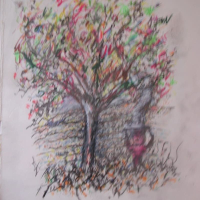 Martial Raysse LSKCSKI. L'arbre gouache, crayon et crayons de couleur 26,2 x 25,6 cm