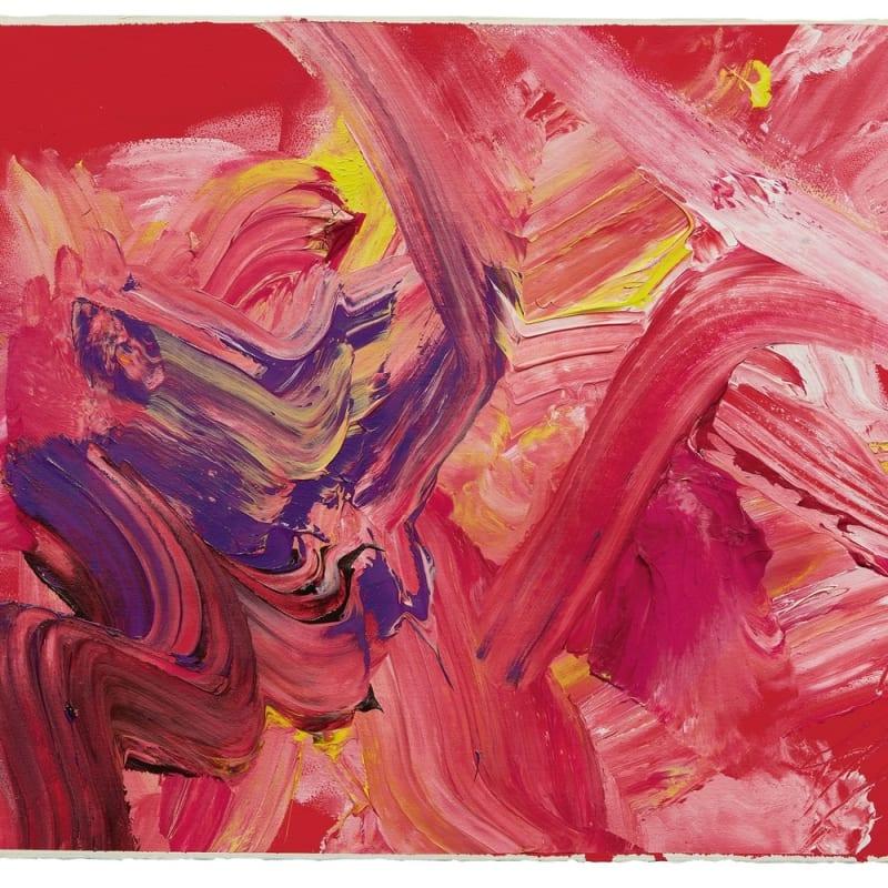 Kazuo Shiraga Rose festival acrylique sur papier monté sur toile 55 x 75 cm 21.65 x 29.53 in