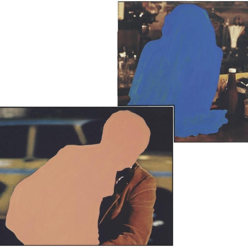 John Baldessari Figure with burden, Figure at rest peinture vinyle sur photographie Deux panneaux : 122,5 x 132,7/ 122,5 x 173,3 cm Two panels : 122,5 x 132,7/ 122,5 x 173,3 cm Overall: 213.6 x 257.4 cm