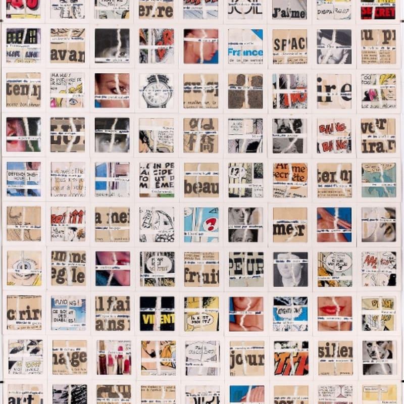Gil Joseph Wolman Spectateur, c'était 50 ans assemblage de papiers séparés en deux, textes imprimés et cartons de diapositives sur film plastique transparent 61 x 46 cm