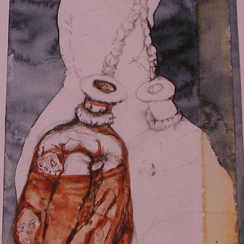 Sébastien Pignon Série des dessins enveloppes crayon, feutre, aquarelle et encre 22.5 x 37 cm 61 3/8 by 47 5/8 in.