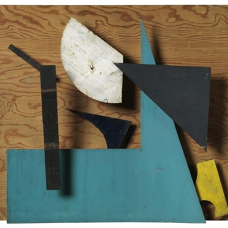 Jean Tinguely Sprit - Bleu, ocre et vert 7 éléments en métal peint sur panneau de bois, moteur, courroies 58 x 70 cm (support en bois) (disponible) 58 x 70 cm