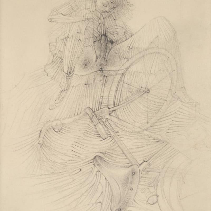 Hans Bellmer Sans titre, étude pour 'La bicyclette' d'Histoire de l'Oeil crayon sur papier 20,5 x 14,5 cm (disponible) 8 x 6 in. (available)