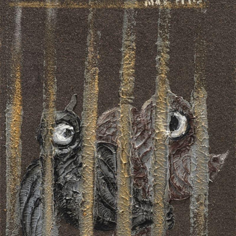 Max Ernst L'oiseau en cage Huile sur papier de verre 24 x 18,5 cm (archives)