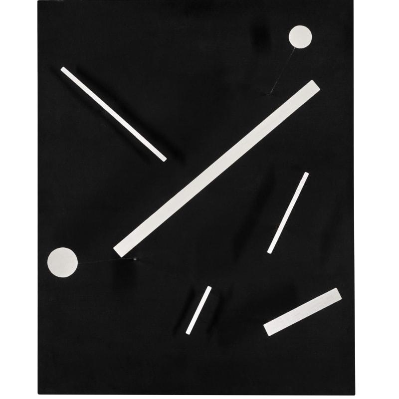 Jean Tinguely Meta-Malevich Elements métalliques peints sur boite en bois peint avec poulies en bois, courroie en caoutchouc, accessoires métalliques et moteur électrique 61,2 x 49 x 16 cm 24 1/8 x 19 1/4 x 6 1/4 in.