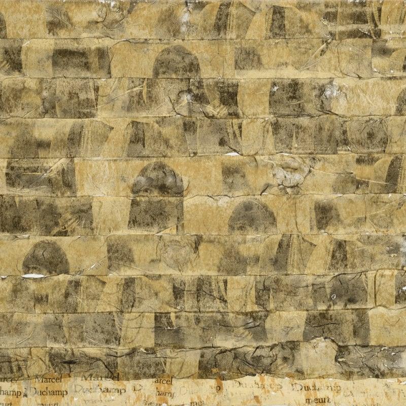 Gil Joseph Wolman Sans titre (Marcel Duchamp meurt) art scotch sur toile 38 x 55,3 cm 8 1/8 by 6 1/2 in.