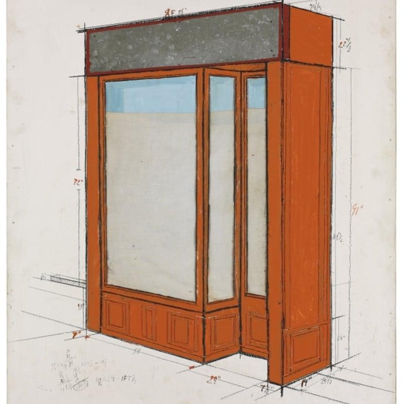 Christo Orange Storefront Project aluminium, tissu, carton peint, crayons et fusain sur masonite 73,6 x 60,9 cm (archives)