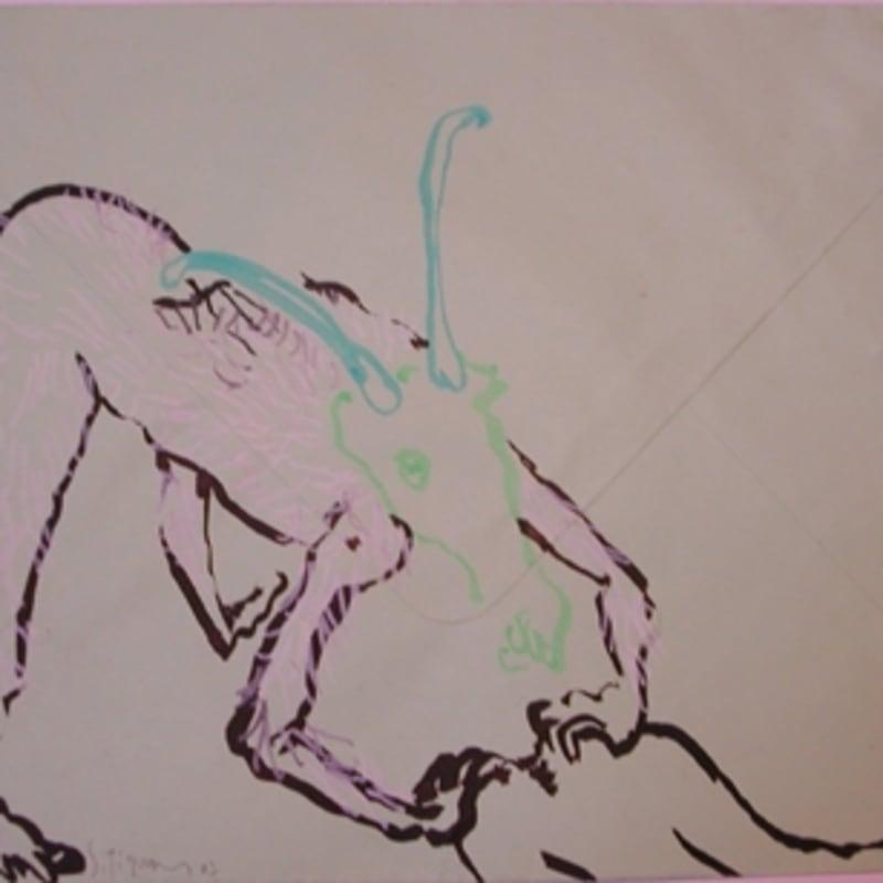 Sébastien Pignon Série des dessins-enveloppes crayon, feutre, aquarelle et encre sur papier 22,7 x 31 cm 12 5/8 by 9 1/2 in.