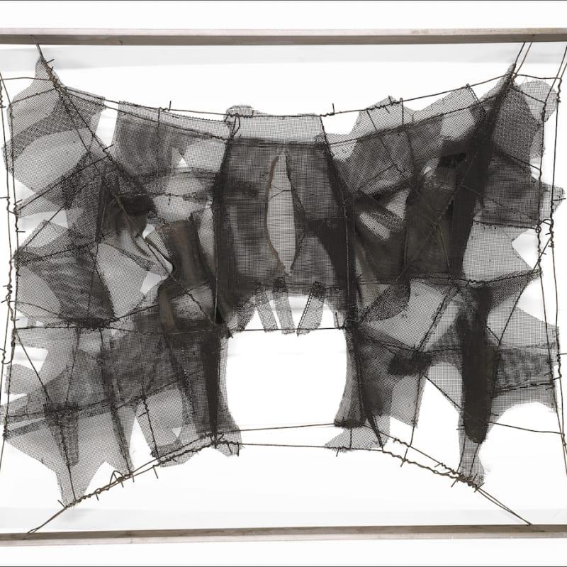 Manuel Rivera Metamorfosis (Totem II) maille et fil de fer sur châssis en aluminium 60 x 73 cm
