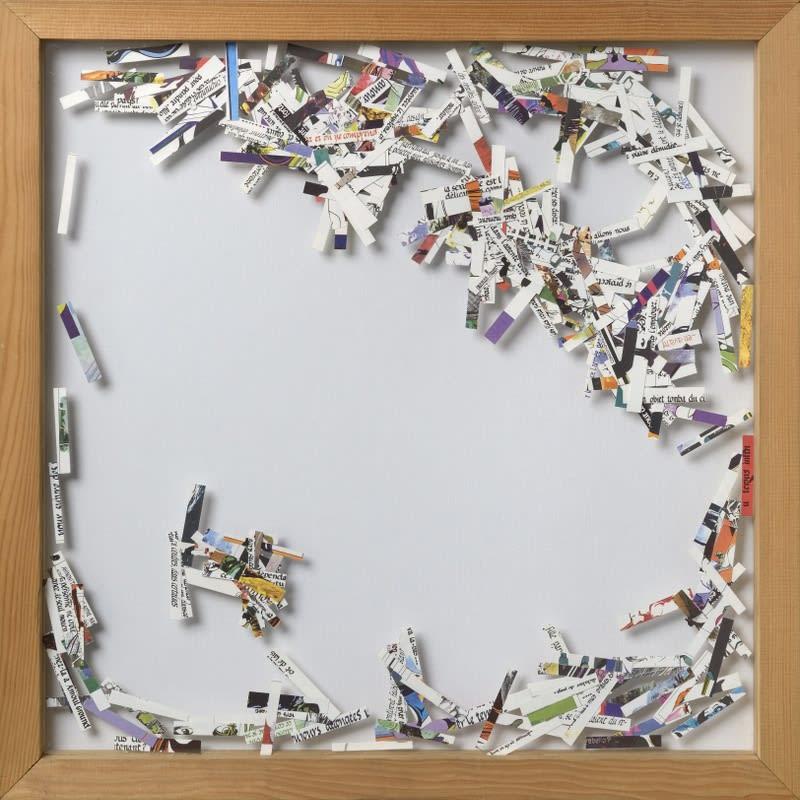 Gil Joseph Wolman W la liberta (Bandes Dessinées) papiers découpés, montage entre deux feuilles de plexiglas 54,5 x 54,5 cm