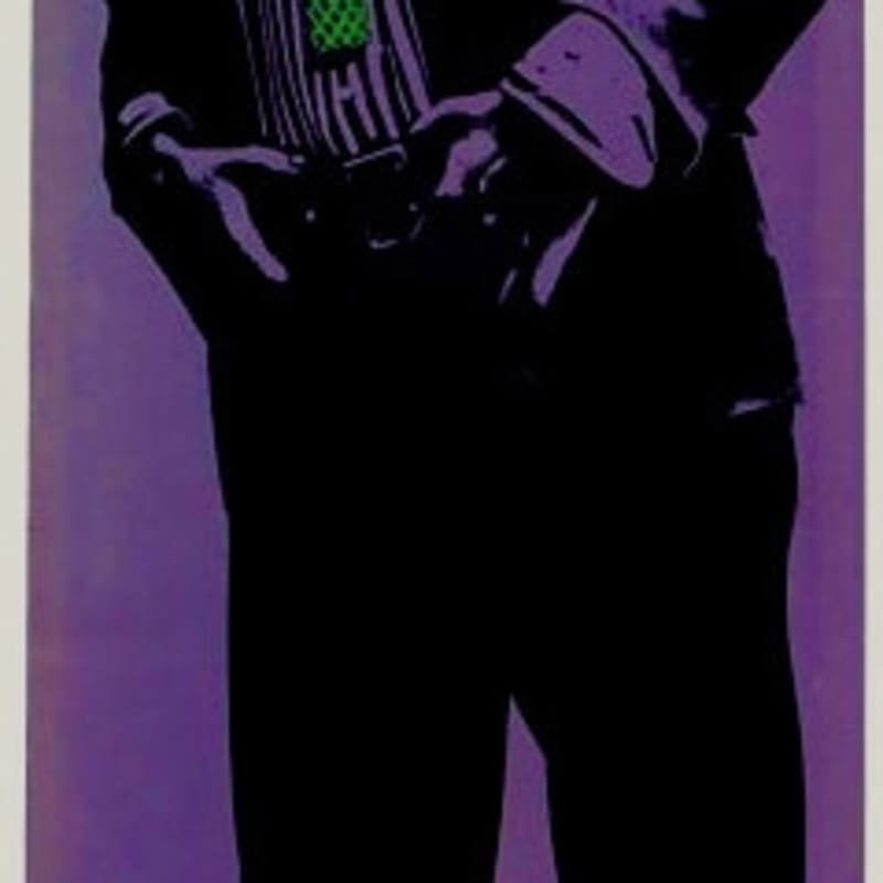 Martial Raysse Bel Eté Concentré Encre sérigraphiée sur velours synthétique.Attache de deux tiges en bois. 185 x48.50 cm