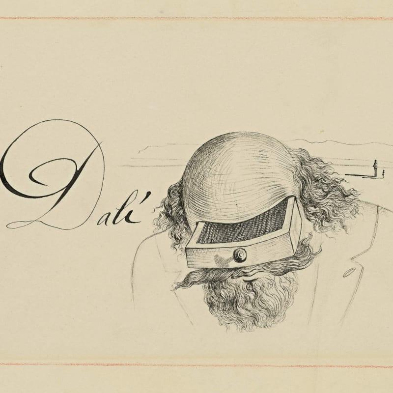 Salvador Dalí Buste à tiroir (Invitation à la rétrospective Dalí à la galerie Lefevre, Londres) stylo et encre de chine sur papier 22,2 x 28,1 cm (disponible) 22,2 x 28,1 cm (available)