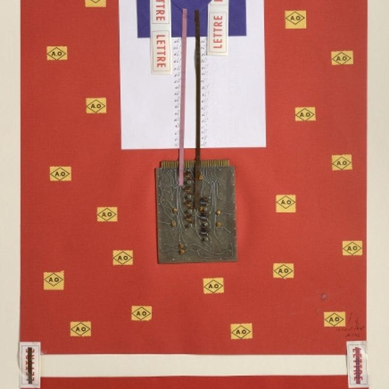 Bernard Heidsieck Canal Street n° 46 écritures, circuits intégrés, objets, amorces et bandes magnétiques sur papier 82 x 50 cm (disponible) 7 7/8 by 5 1/2 in. (available)