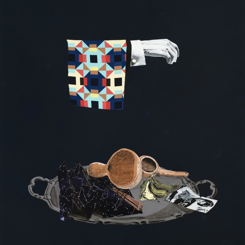 WILLIAM VILLALONGO, Still Life with Quilt and Drinking Gourds, 2021