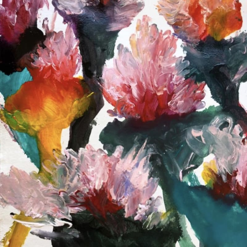 Alessandro Twombly  Floralia I, 2019  Acrylic on paper  103.5 x 70.5 cm