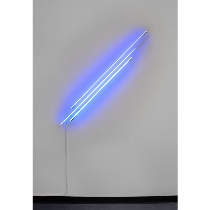 Anne Katrine Senstad  Ascension/Descension Graph # 01 (Blue), 2020  Neon, transformer, wires, fasteners  51 x 48 x 2 1/2 in  129.5 x 121.9 x 6.3 cm  Edition of 6