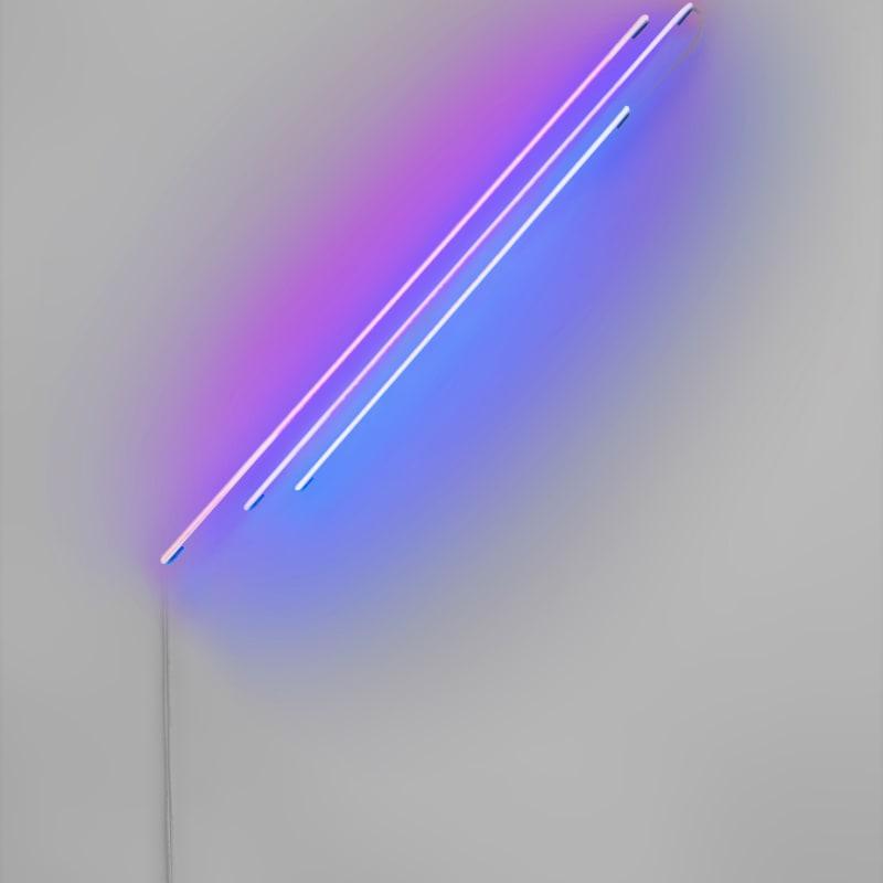Anne Katrine Senstad  Ascension/Descension Graph 03 (Red + Blue), 2020  Neon, transformer, wires, fasteners  66 × 60 × 2 in  167.6 × 152.4 × 5.1 cm  Edition of 6