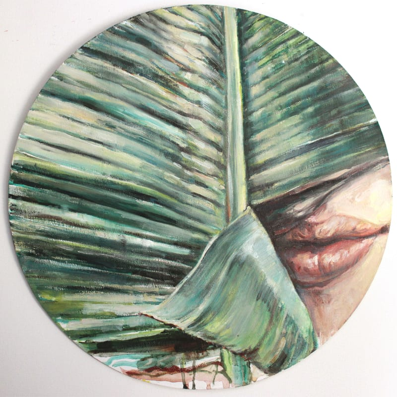 Kati Verebics  Skins, 2019  Oil on wood  15 3/4 x 15 3/4 in  40 x 40 cm