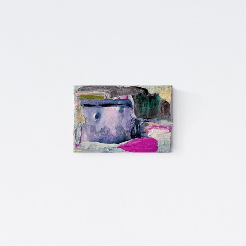 Etty Yaniv  Archipelago 31, 2020  Acrylic, oil and paper on canvas  4 x 6 in  10.2 x 15.2 cm