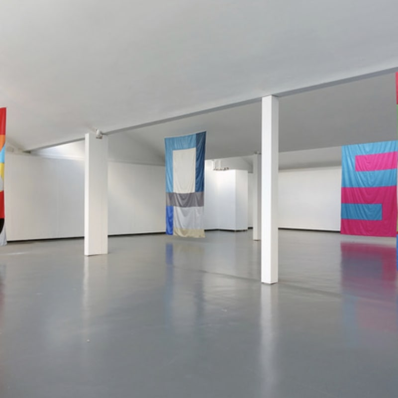 """Jacob Dahlgren - Installation view """"The Flag Project"""" at Kunsthalle Göppingen, Germany, 2020."""