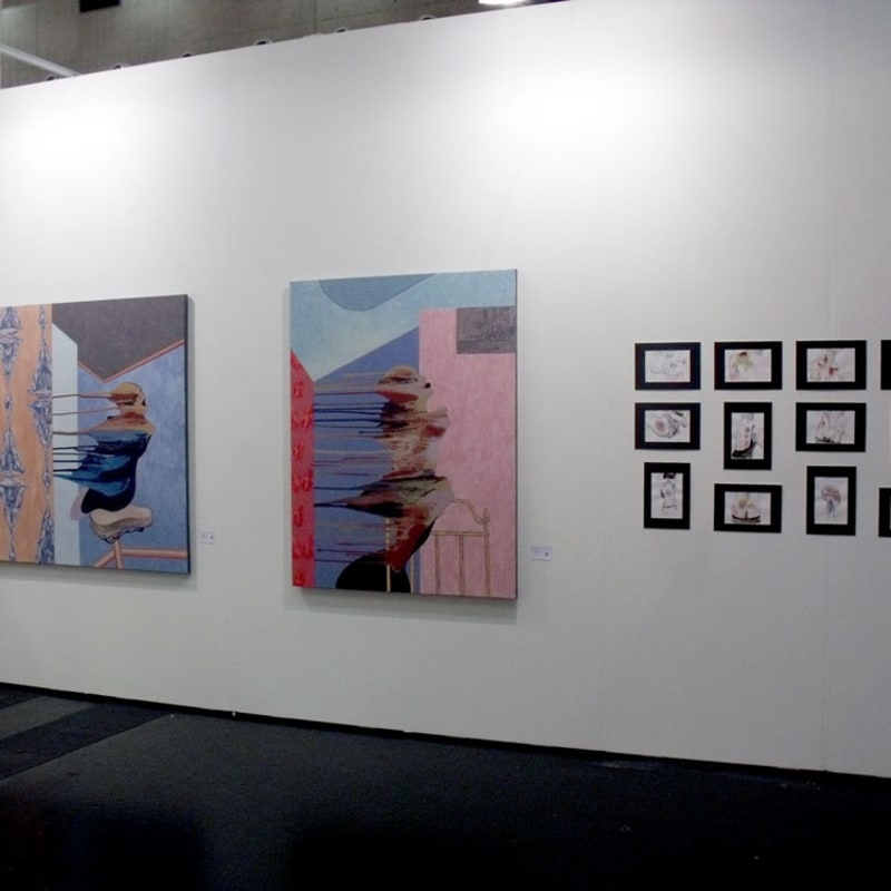 Ivan Plusch and Anastasia Potemkina works at the gallery's stand
