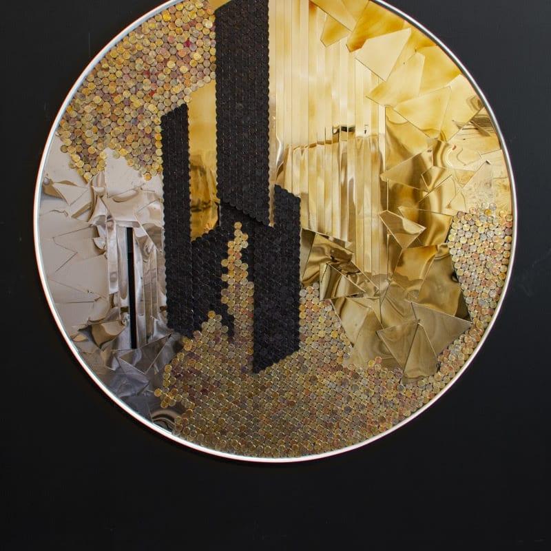 Yaw Owusu Hidden Behind Open Walls, 2020 Stainless steel and US pennies